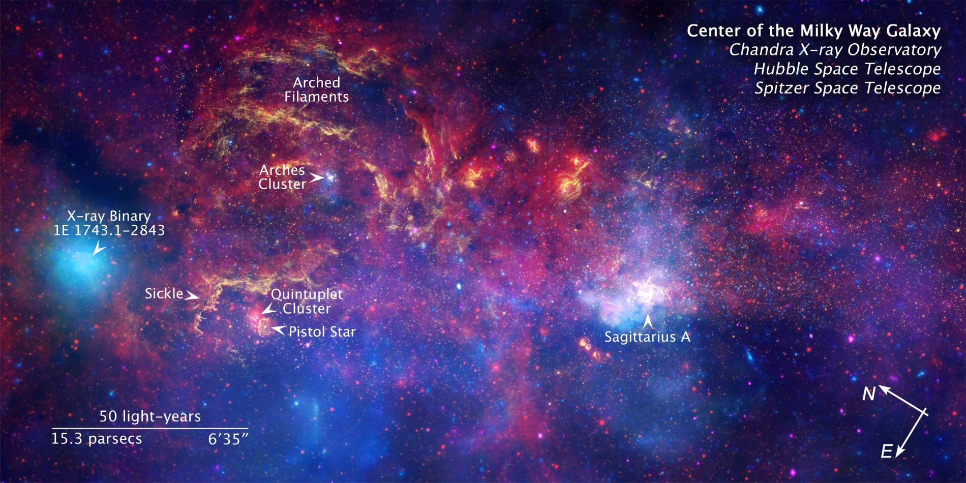 Image of the central regions of the Milky Way, with the position of Sagittarius A * indicated