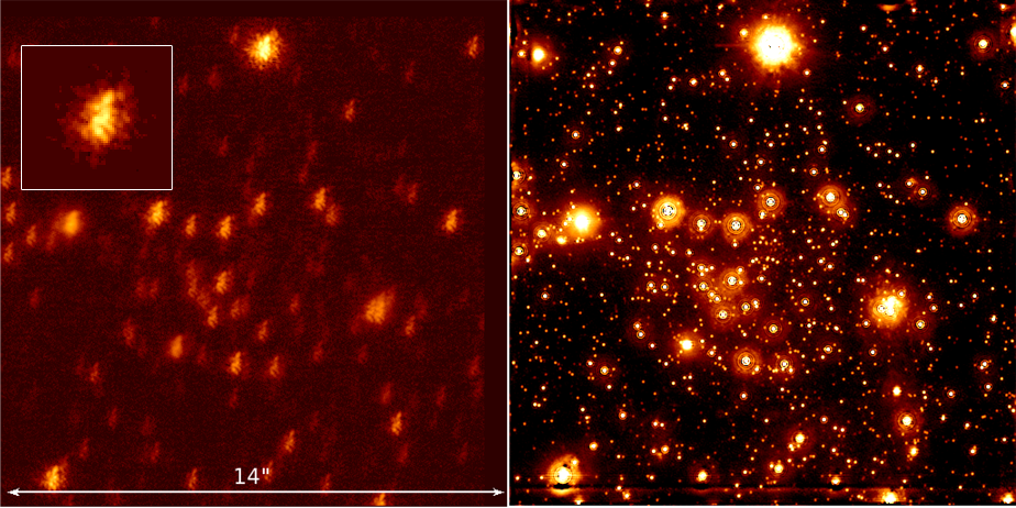 Single short exposure of the GC (0.1s exposure time) obtained with NACO/VLT in the Ks-band. The inset in the upper left corner shows the instantaneous PSF extracted from the short exposure. The right panel shows a speckle holographic reconstruction of the field, using over 10,000 short exposures.