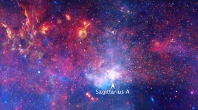 Center of the Milky Way Galaxy. Credits: Chandra X-ray Observatory, Hubble Space Telescope and Spitzer Space Telescope